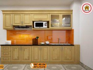 Tủ bếp dạng đứng 2 tầng đơn giản gỗ sồi Nga TB02