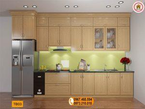 Tủ bếp dạng đứng liền tủ lạnh gỗ sồi Nga TB03