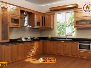 Tủ bếp chữ L gỗ xoan đào TB08