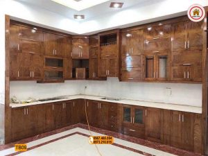 tủ bếp góc chữ L gỗ hương xám TB09