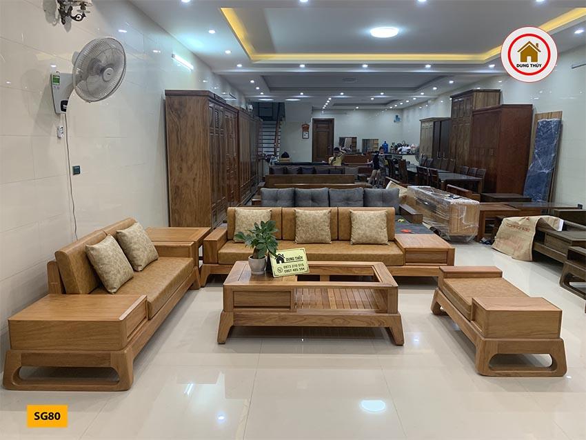 Bộ ghế sofa 2 văng chân quỳ gỗ gõ đỏ SG80
