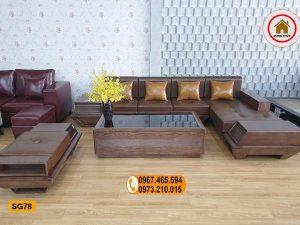 Bộ ghế sofa góc chữ L chân thuyền gỗ sồi Nga SG78